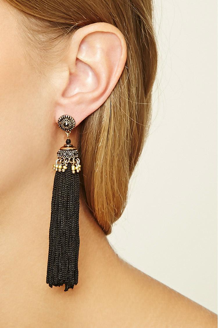 Forever 21 tassel drop earrings in black lyst for Forever 21 jewelry earrings