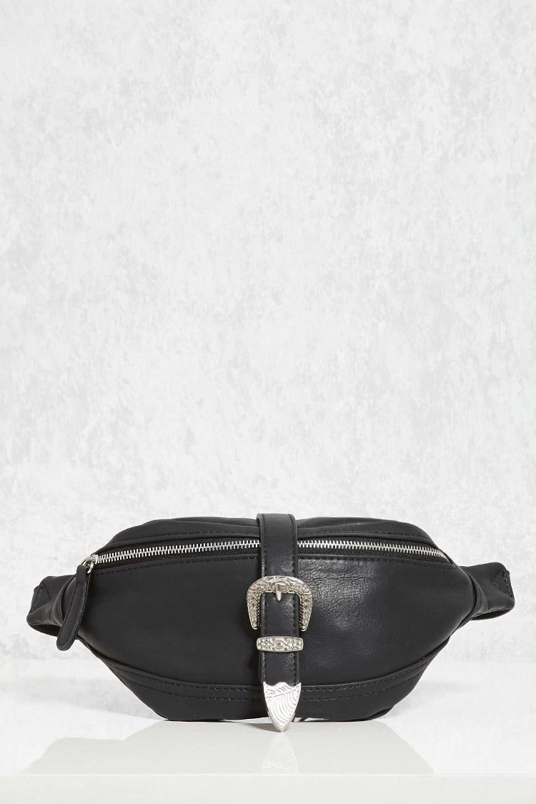 Forever 21 Buckled Faux Leather Fanny Pack In Black Lyst