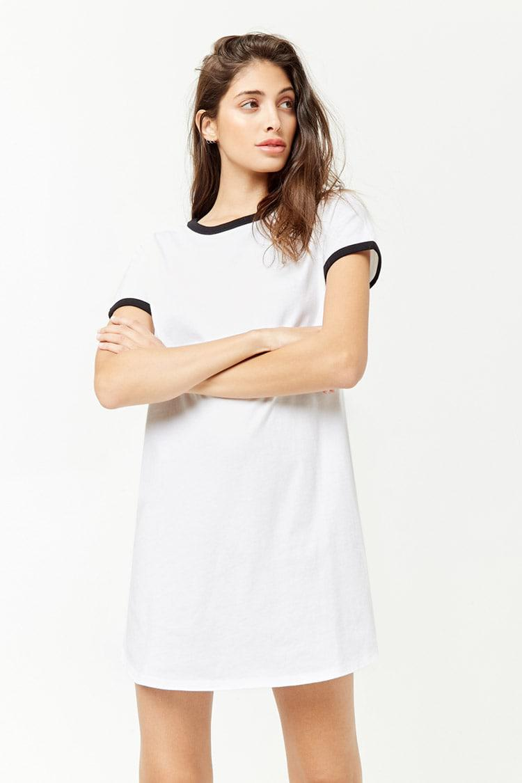 53713d109cb02f Forever 21 Ringer T-shirt Dress in White - Lyst