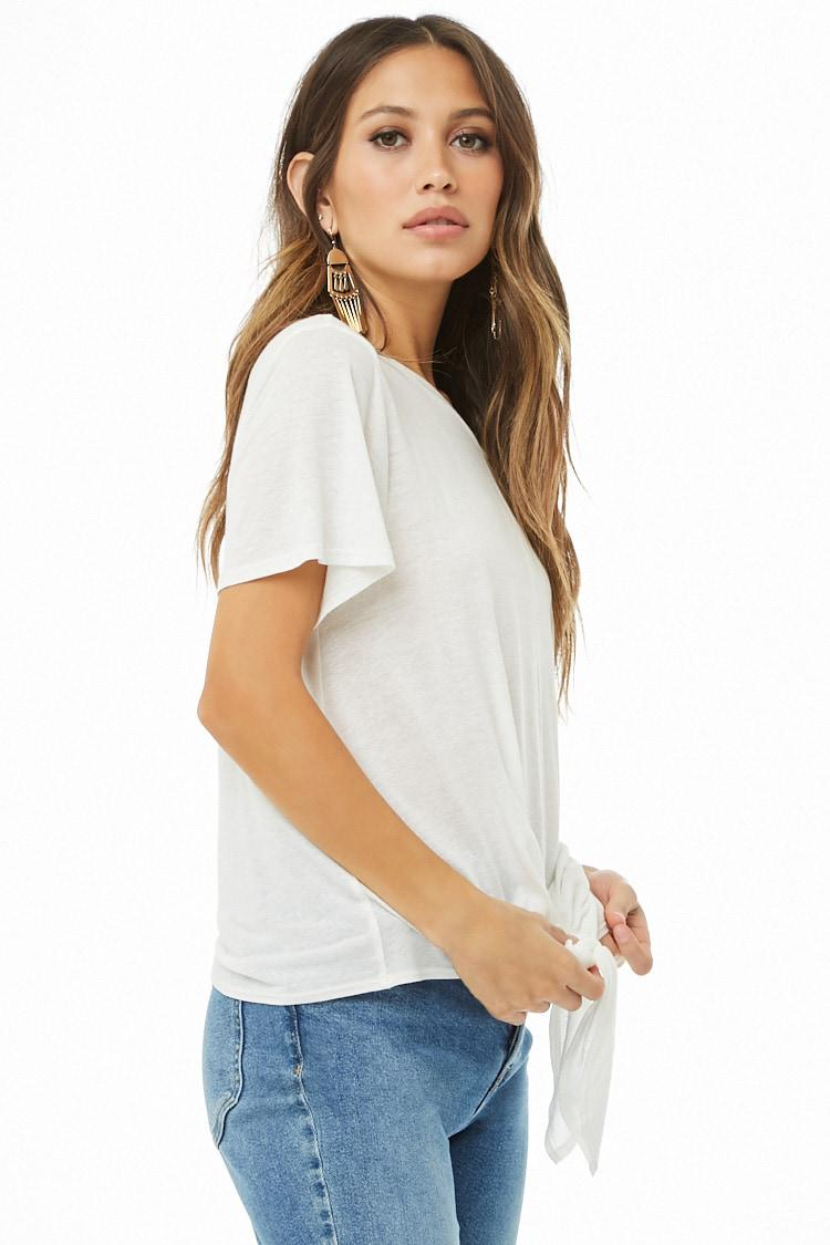 e7c3b4908a399 Lyst - Forever 21 Knotted Hem Linen-blend Top in White