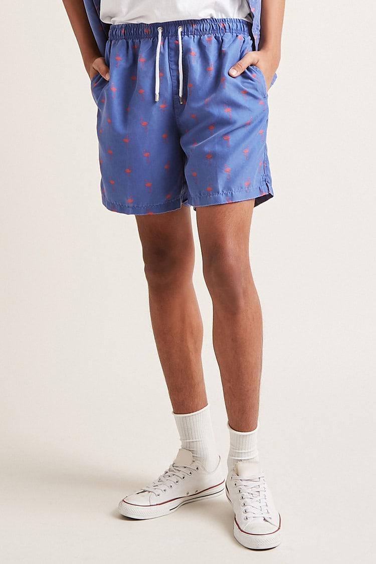 74eb1848fd Lyst - Forever 21 In Gear Flamingo Print Swim Trunks in Blue for Men