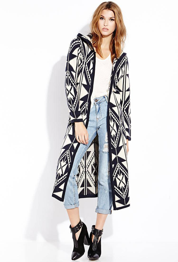 Forever 21 Out West Hooded Maxi Cardigan in Blue | Lyst