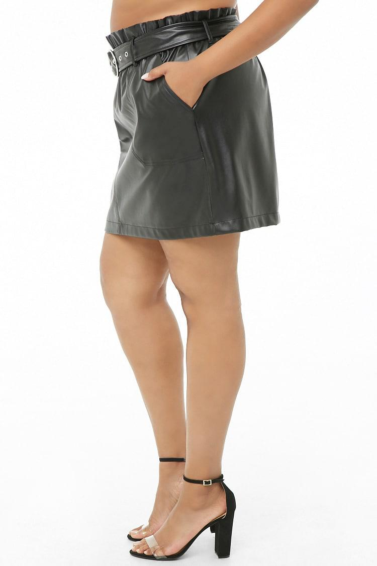 066f8cef990 Forever 21 Women s Plus Size Belted Faux Leather Skirt in Black - Lyst