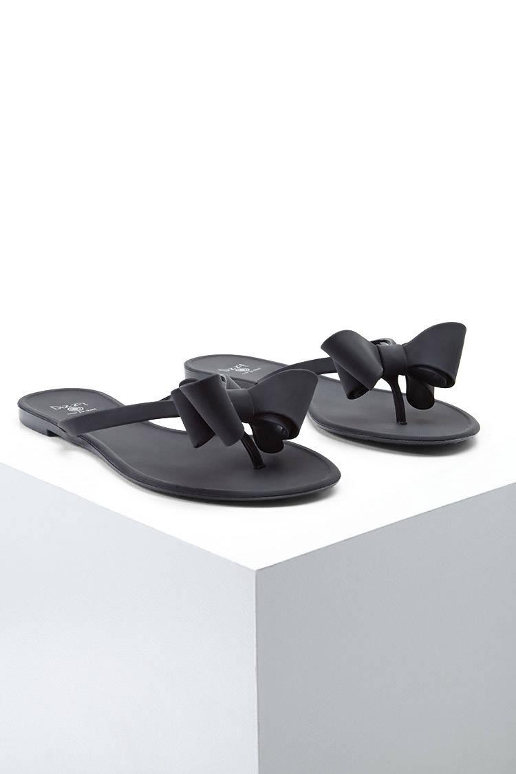 b614633e9e25a Lyst - Forever 21 Dizzy Jelly Bow Sandals in Black