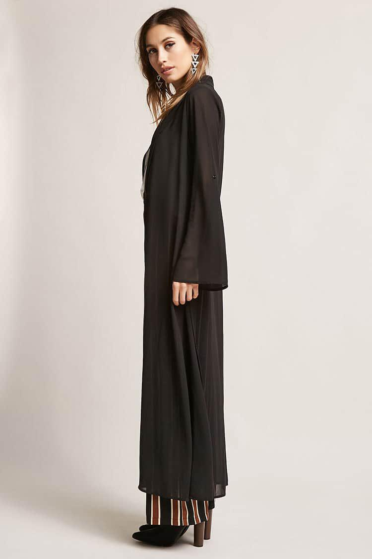 Forever 21 Semi-sheer Longline Cardigan in Black | Lyst
