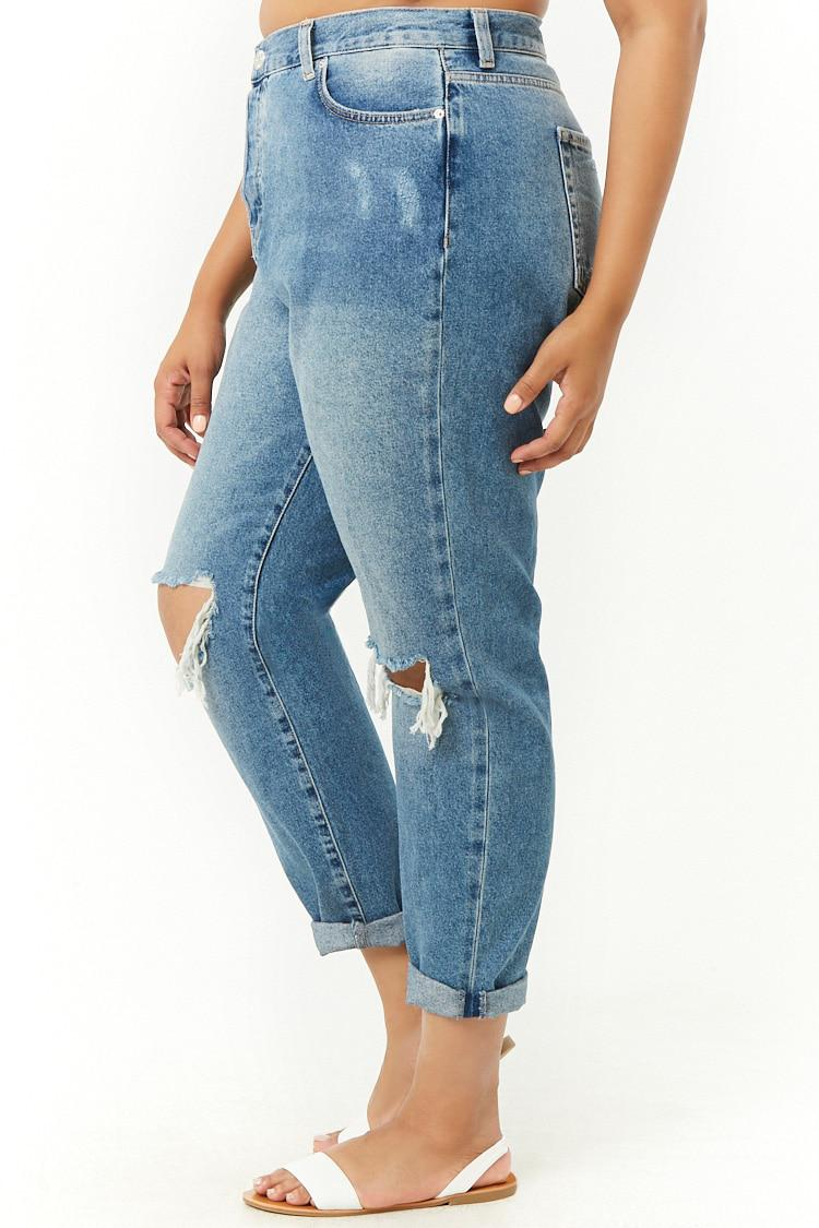 8a7d173f91 Forever 21 - Blue Women s Plus Size Distressed Mom Jeans - Lyst. View  fullscreen