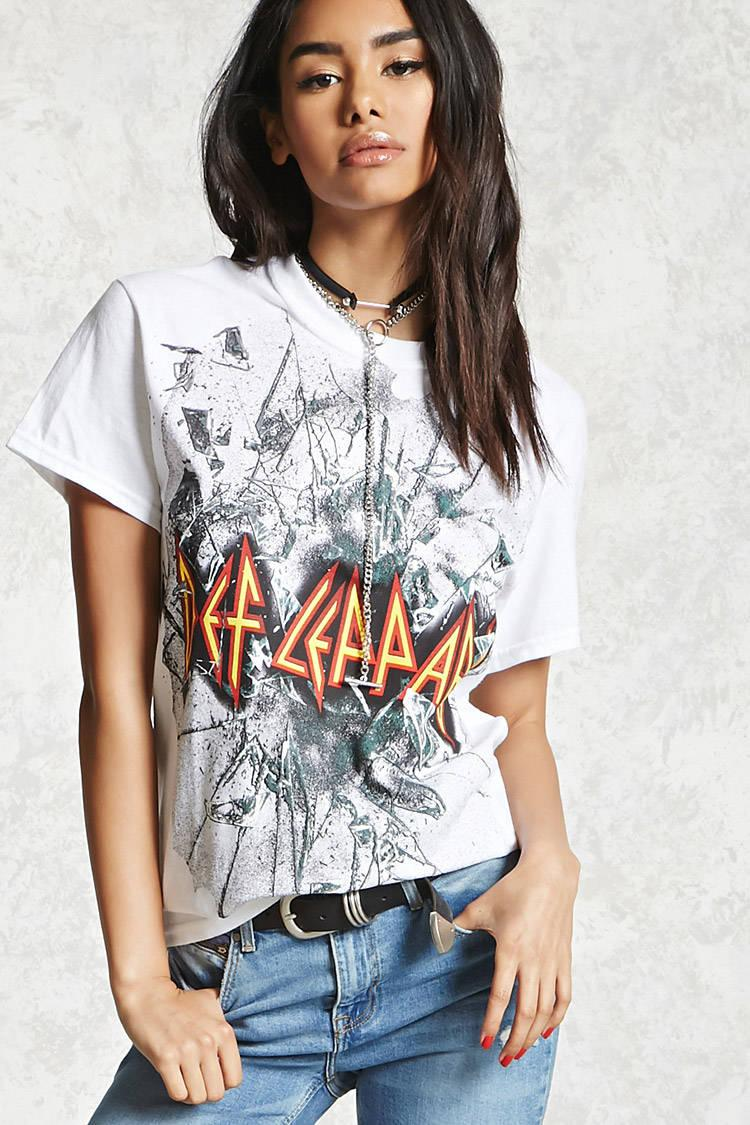 de403380 Forever 21 Def Leppard Band Tee in White - Lyst