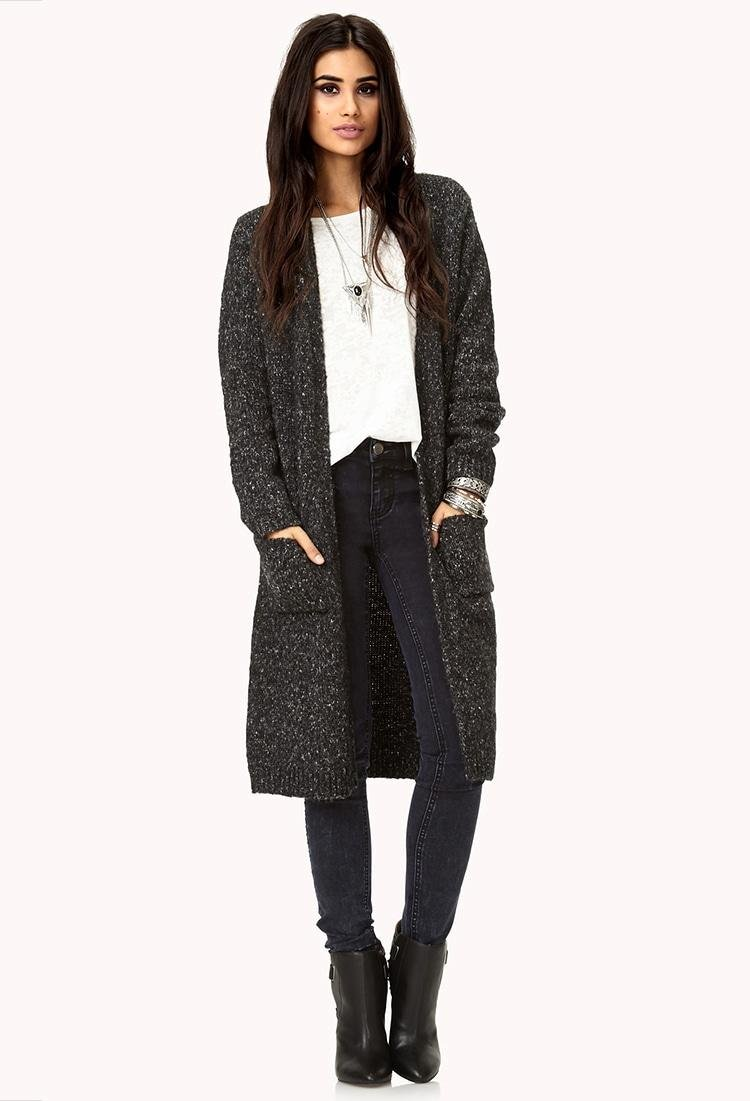 Forever 21 No-fuss Longline Cardigan in Gray | Lyst