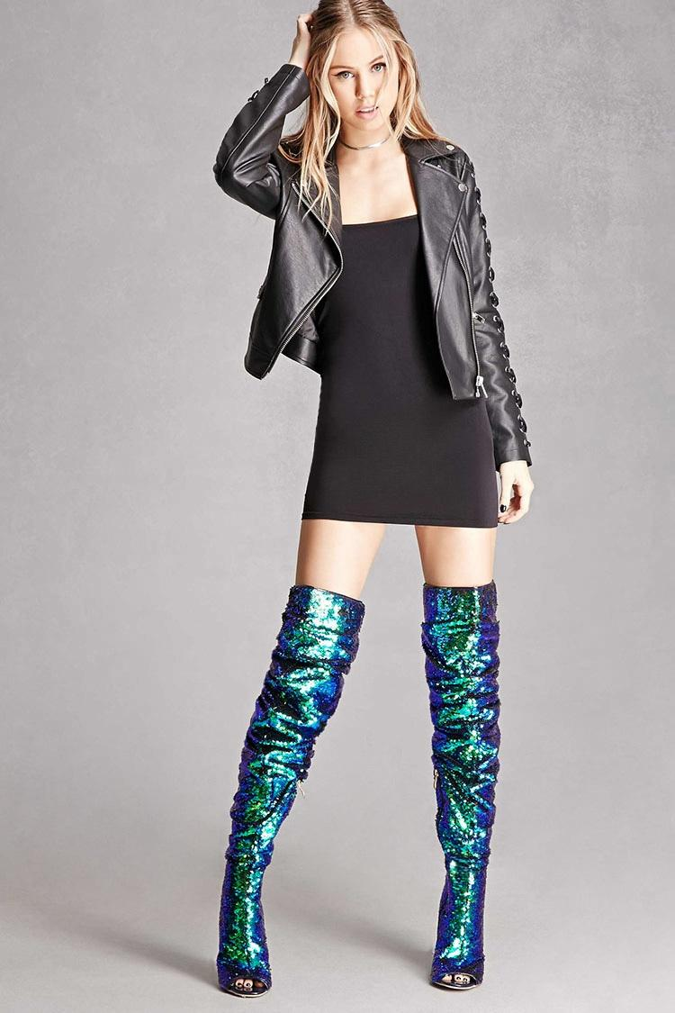 Lyst Forever 21 Thigh High Sequin Boots In Green