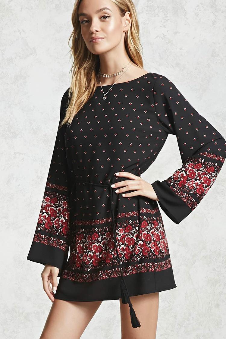 Forever 21 Floral Bell Sleeve Dress In Black Lyst