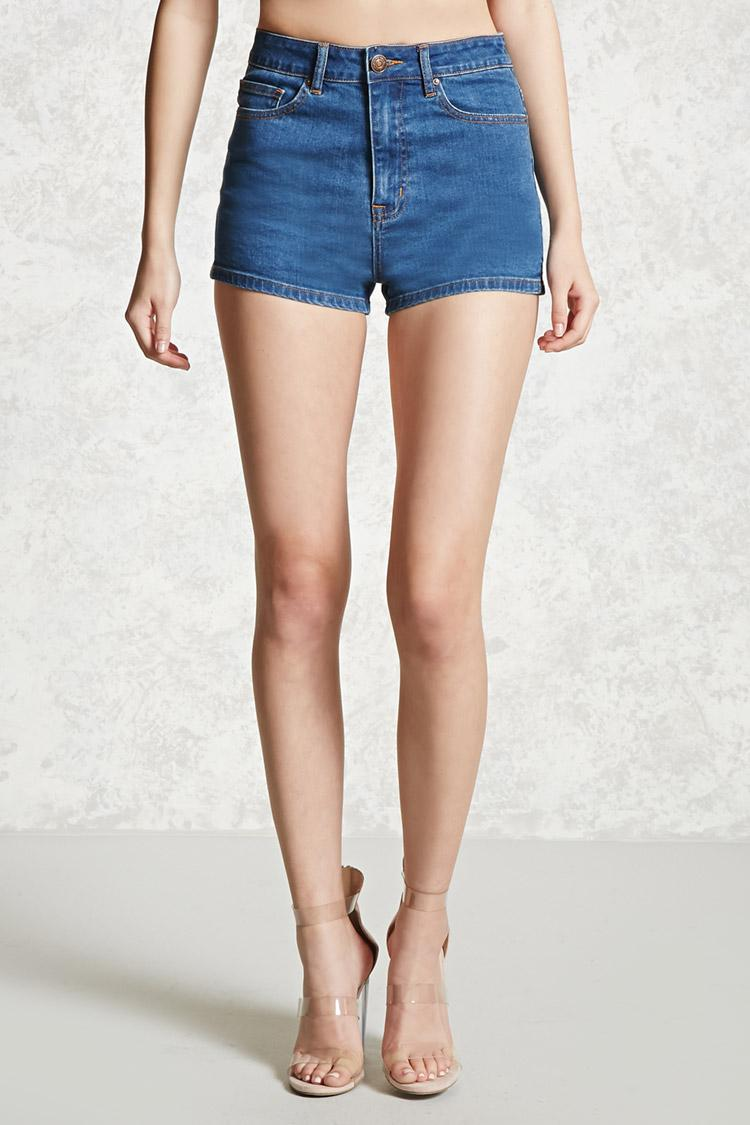 forever 21 highwaisted denim shorts in blue lyst