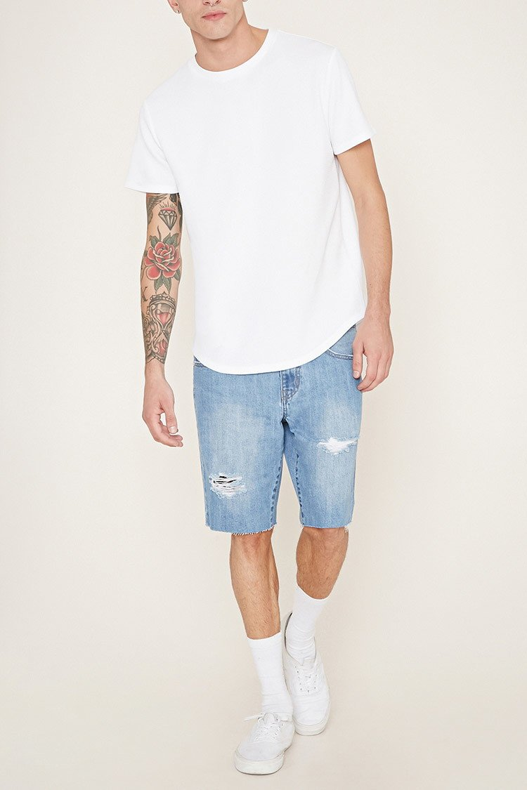 Forever 21 Distressed Denim Shorts in Blue for Men | Lyst