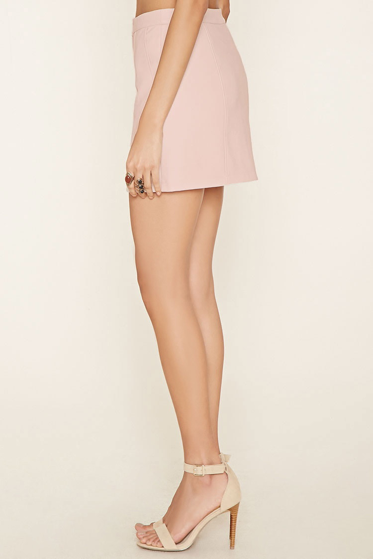 Forever 21 Faux Leather Mini Skirt in Natural | Lyst