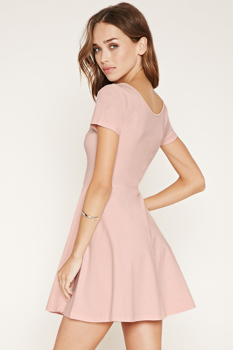 891005fba9 Lyst - Forever 21 Scalloped Skater Dress in Pink