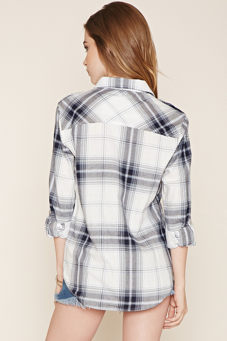 Forever 21 snap buttoned plaid shirt in blue lyst for Snap tab collar shirt