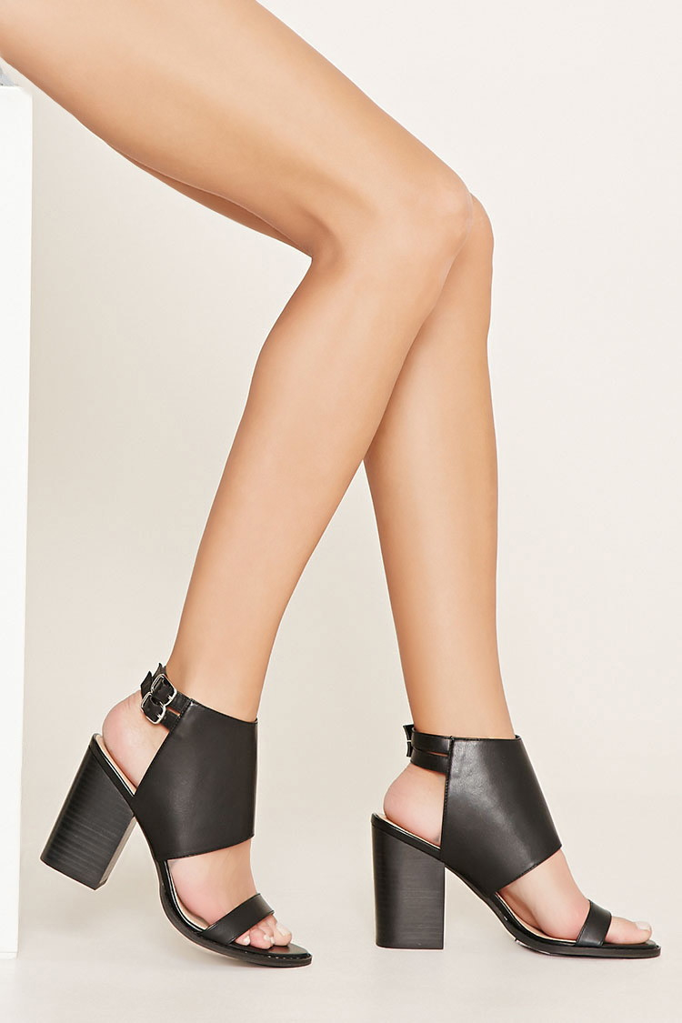 Lyst Forever 21 Faux Leather Block Heels In Black
