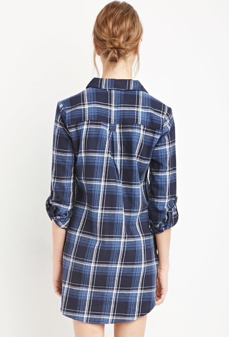 Lyst forever 21 plaid flannel shirt dress in blue for Flannel shirts for womens forever 21