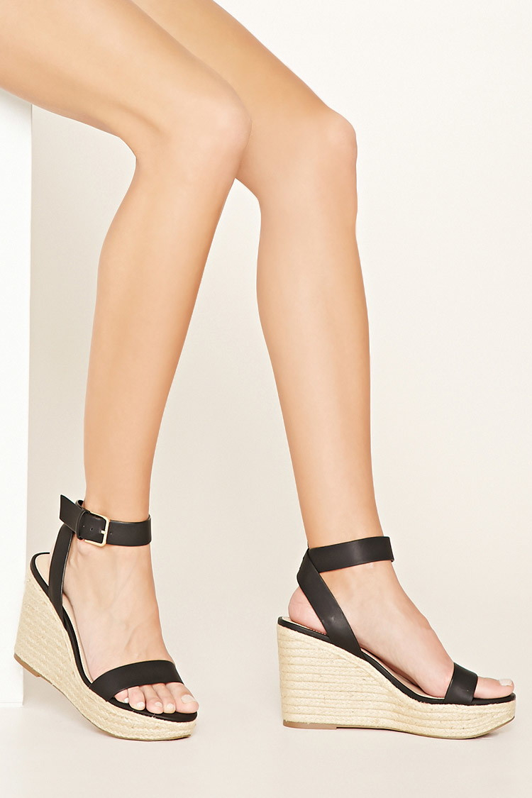 39a57cbabeb Forever 21 Black Faux Leather Espadrille Wedges