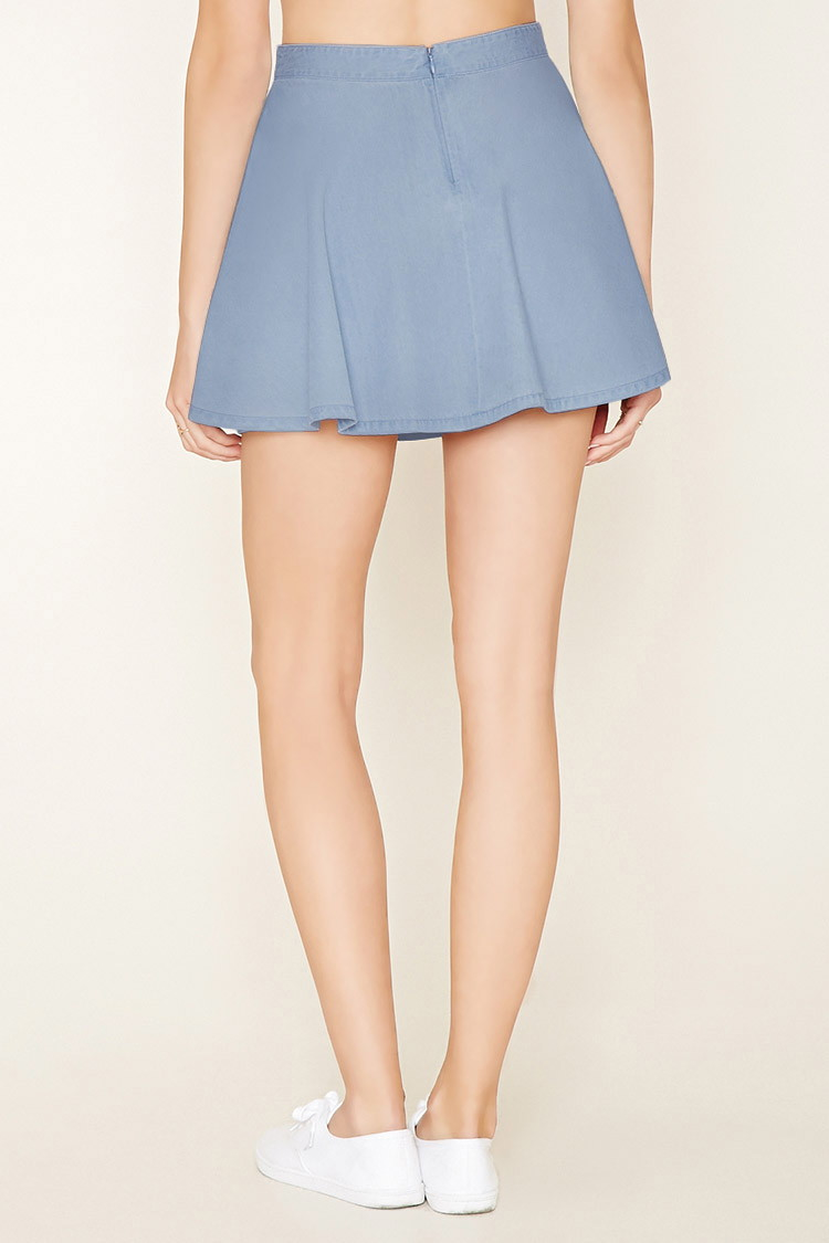 forever 21 denim skater skirt in blue lyst