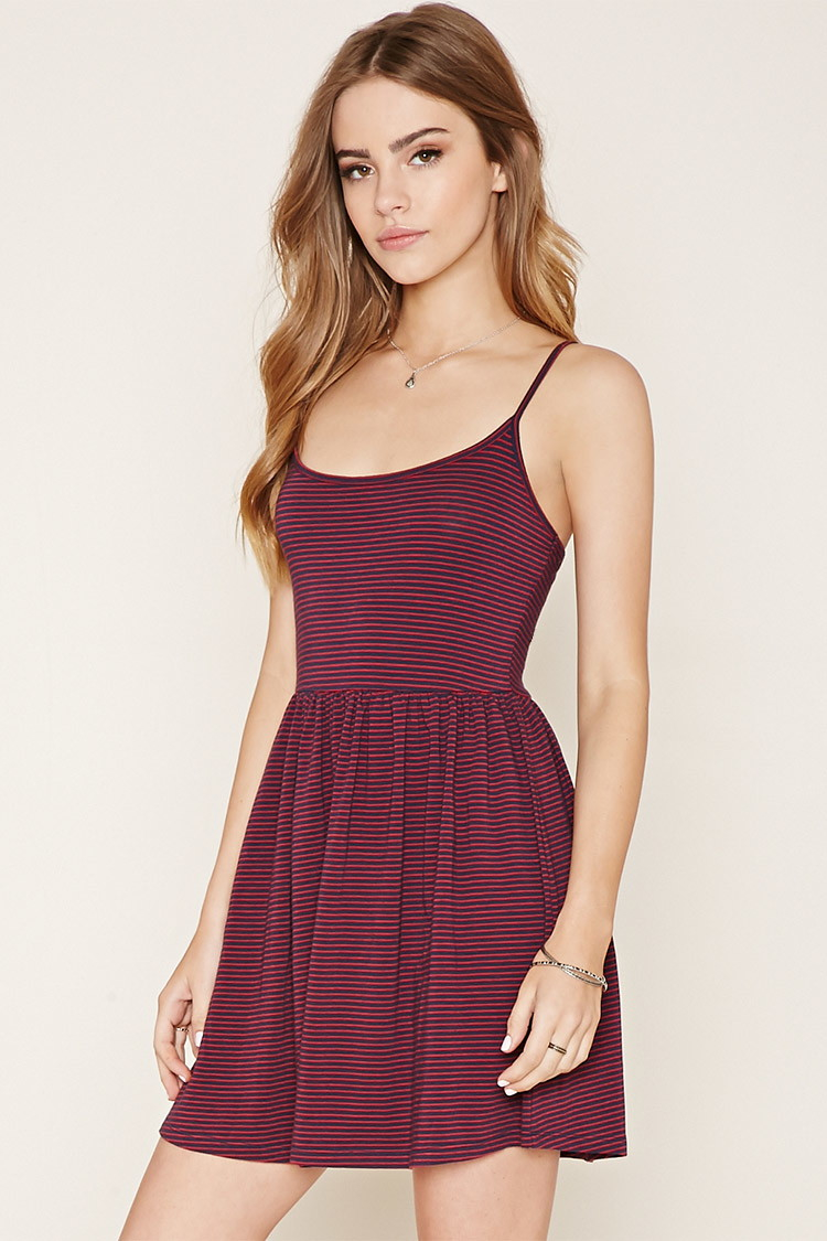forever 21 striped knit cami dress in red lyst