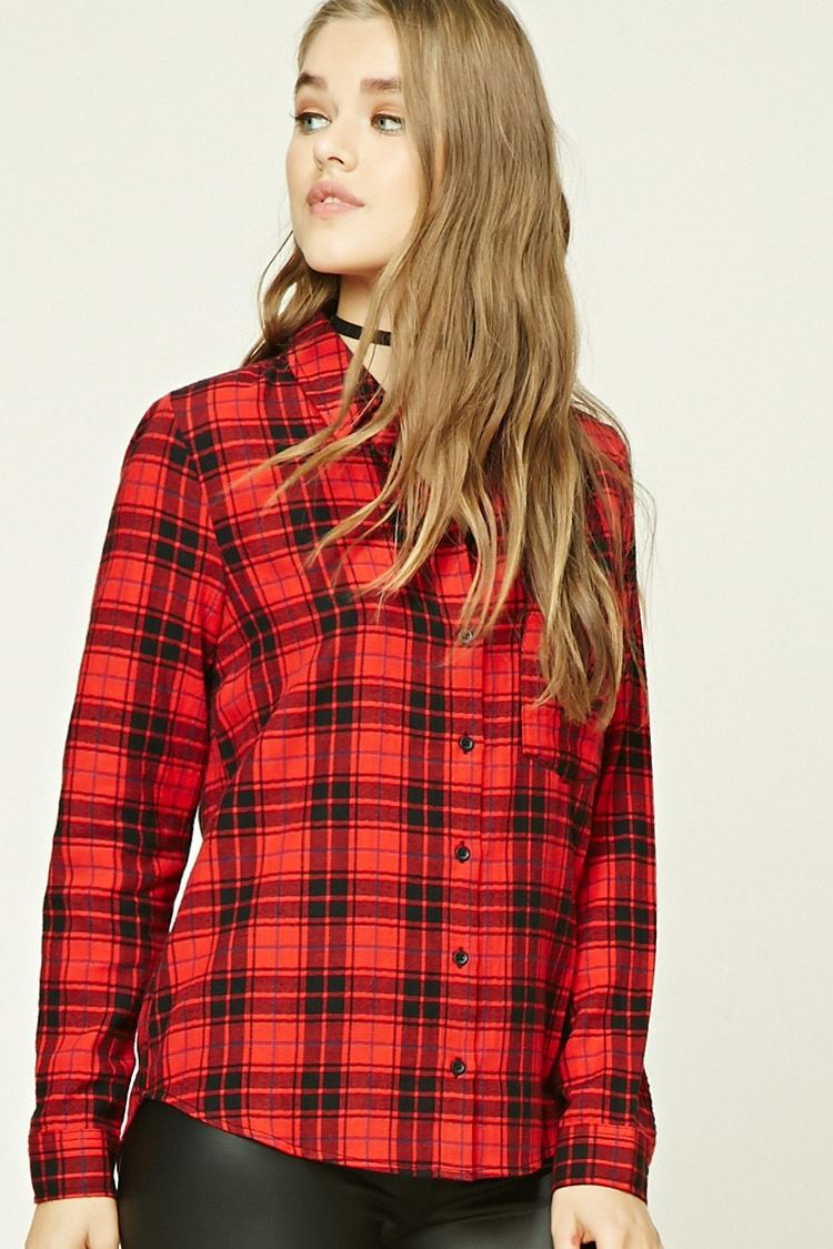 Forever 21 tartan check shirt in red lyst for Womens red tartan plaid shirt