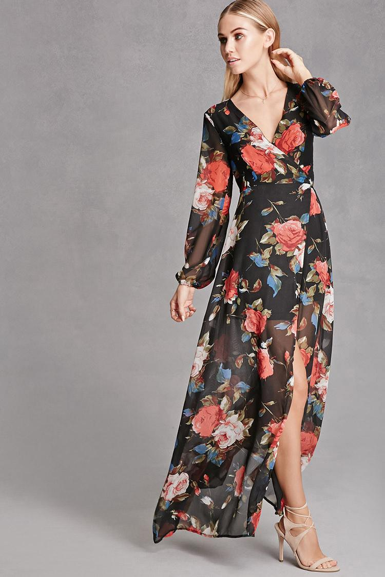 Forever 21 Reverse Floral Wrap Maxi Dress In Black Lyst