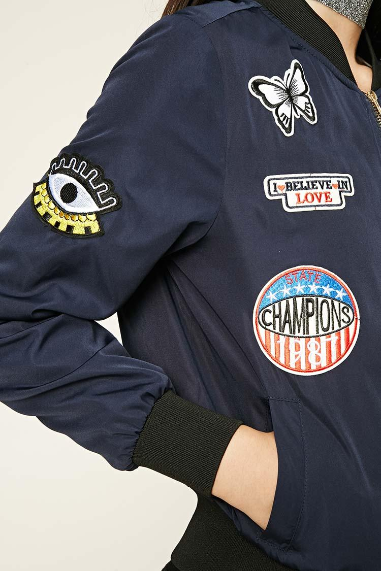 Forever 21 Route 66 Patched Bomber Jacket In Blue Lyst