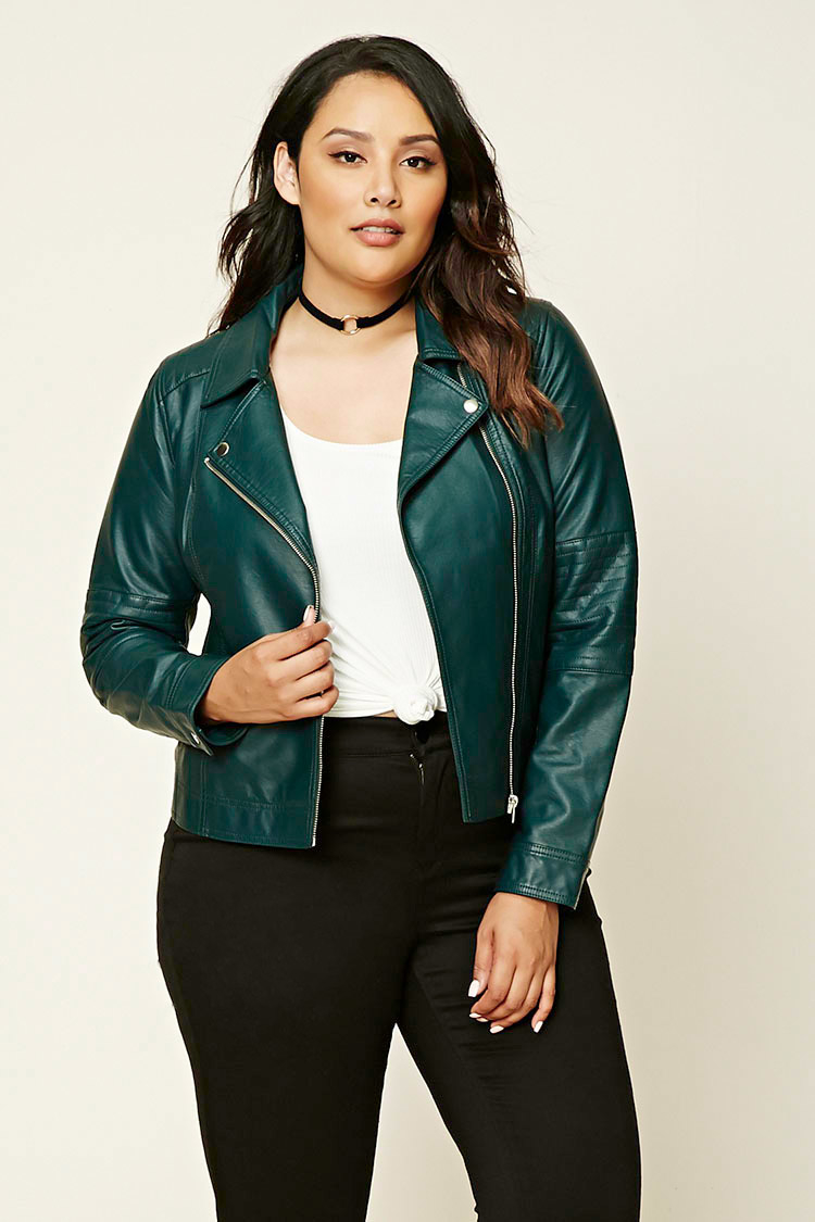 Lyst Forever 21 Plus Size Moto Jacket In Green