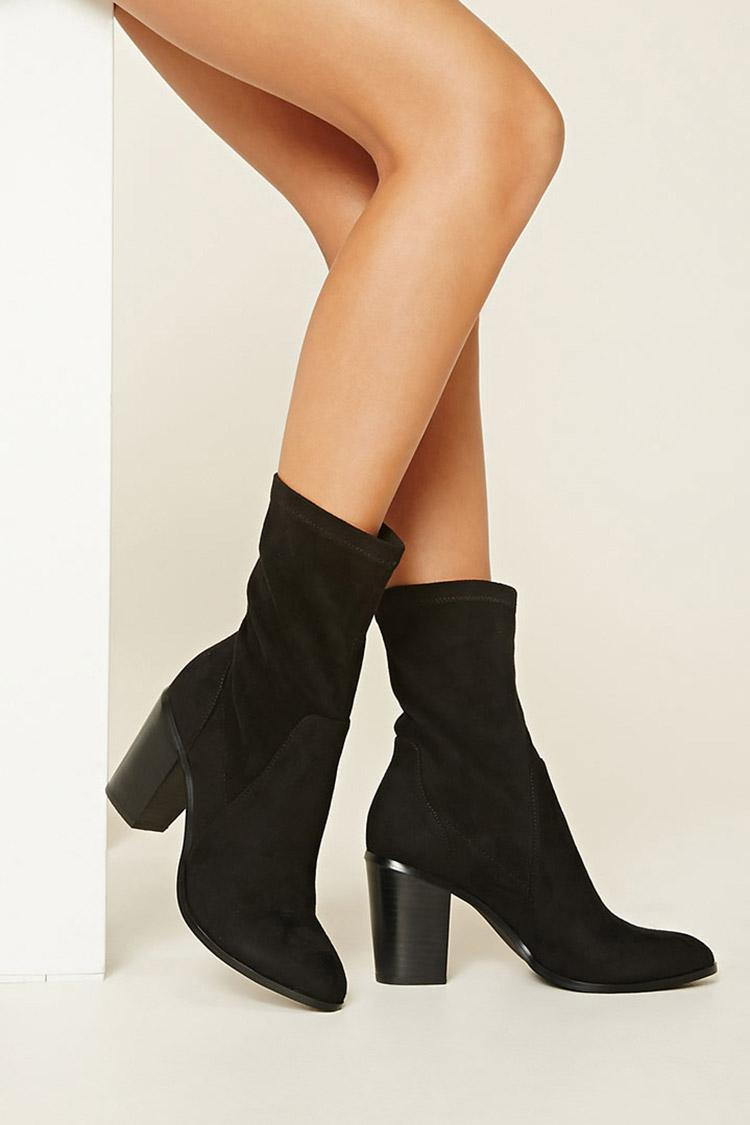 Forever 21 Faux Suede Ankle Booties In Black Lyst