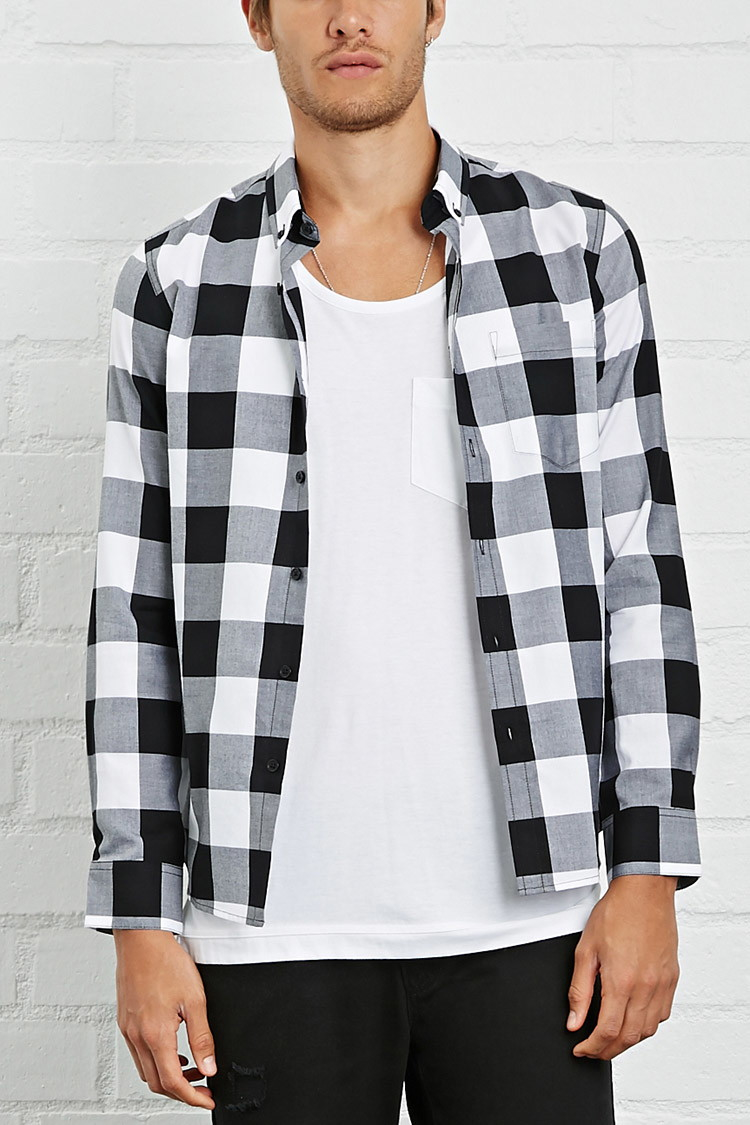 Lyst forever 21 slim fit check shirt in black for men for Slim fit check shirt