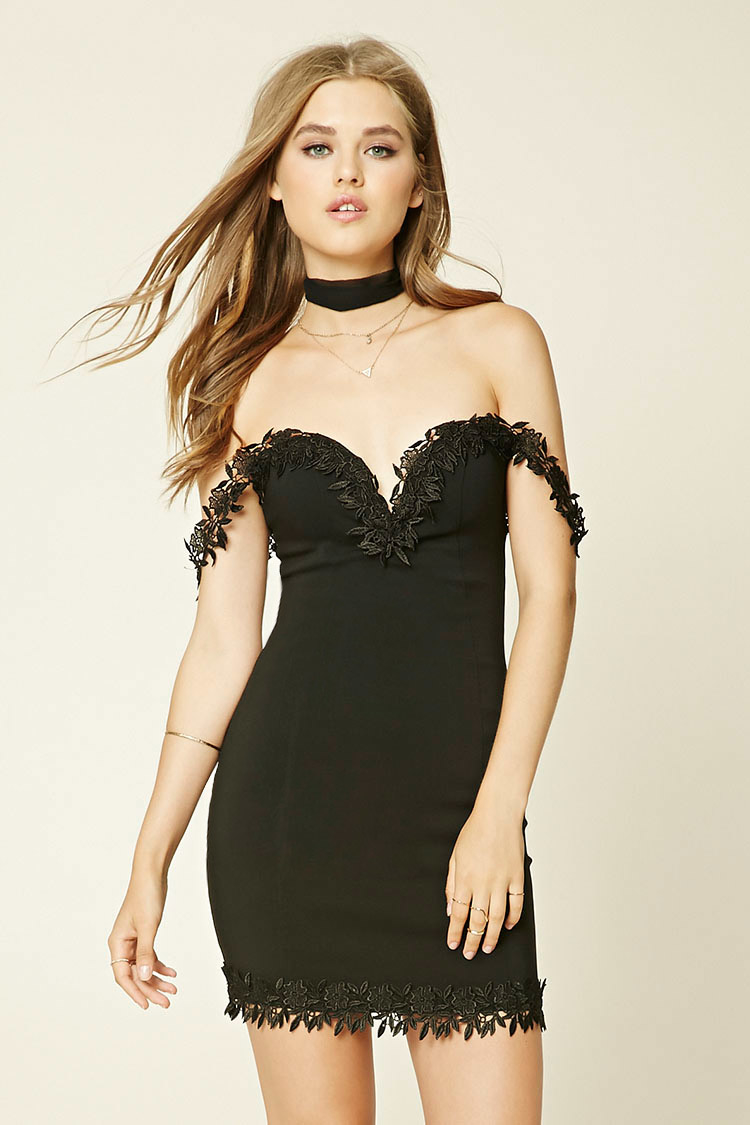Forever 21 Sweetheart Bodycon Dress in Black | Lyst - photo #16
