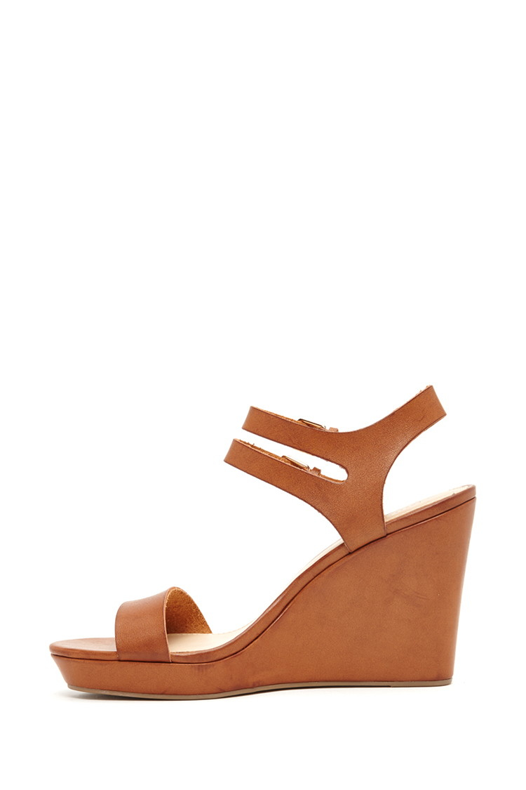 Lyst - Forever 21 Faux Leather Wedges in Brown
