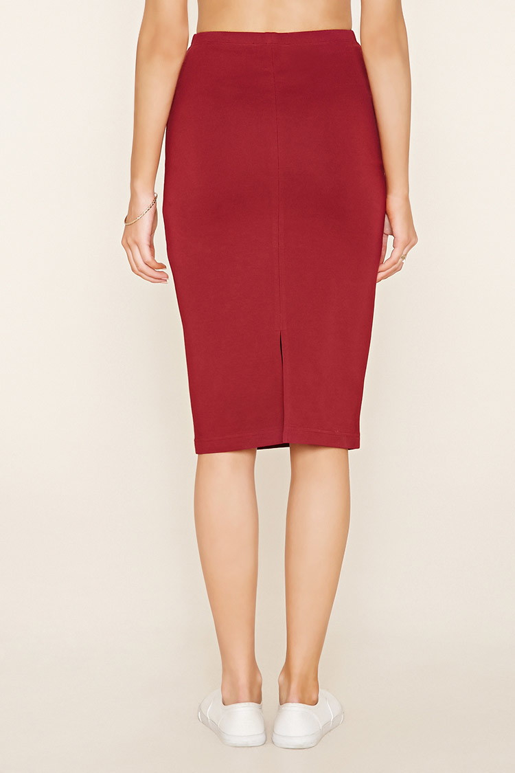 forever 21 stretch knit pencil skirt in pink lyst