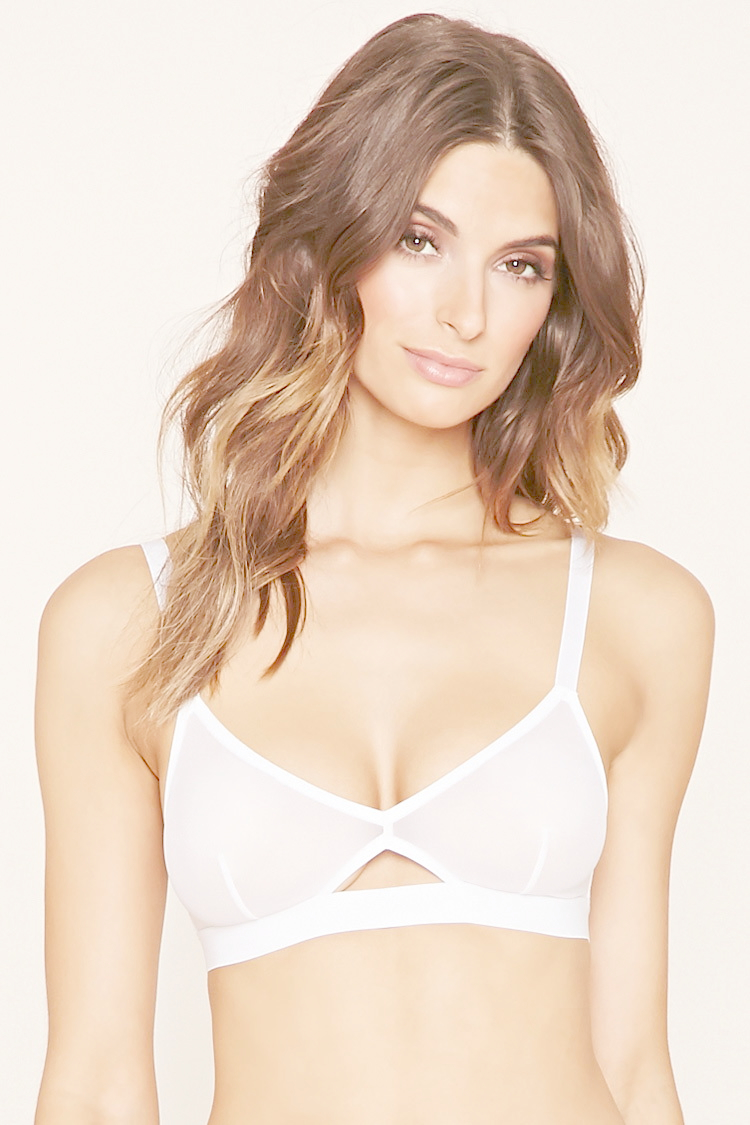 Lyst Forever 21 Cutout Mesh Bralette In Natural