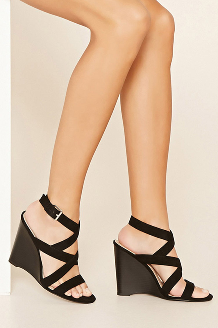 Forever 21 Strappy Wedge Sandals in Black | Lyst