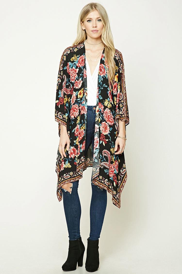 Forever 21 Floral Print Kimono in Black | Lyst