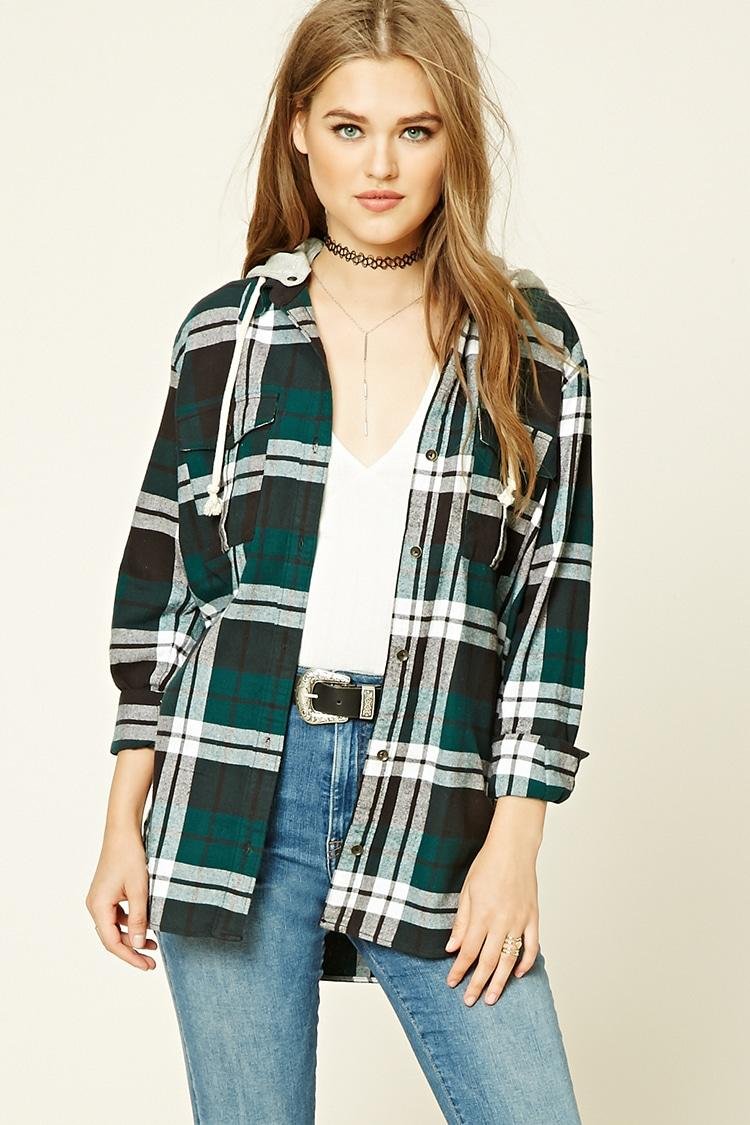 Forever 21 hooded plaid flannel shirt in green lyst for Womens green checked shirt