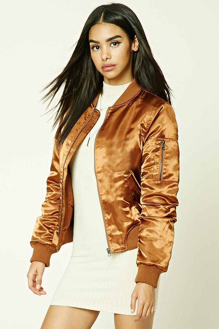 Forever 21 Satin Bomber Jacket In Brown Lyst