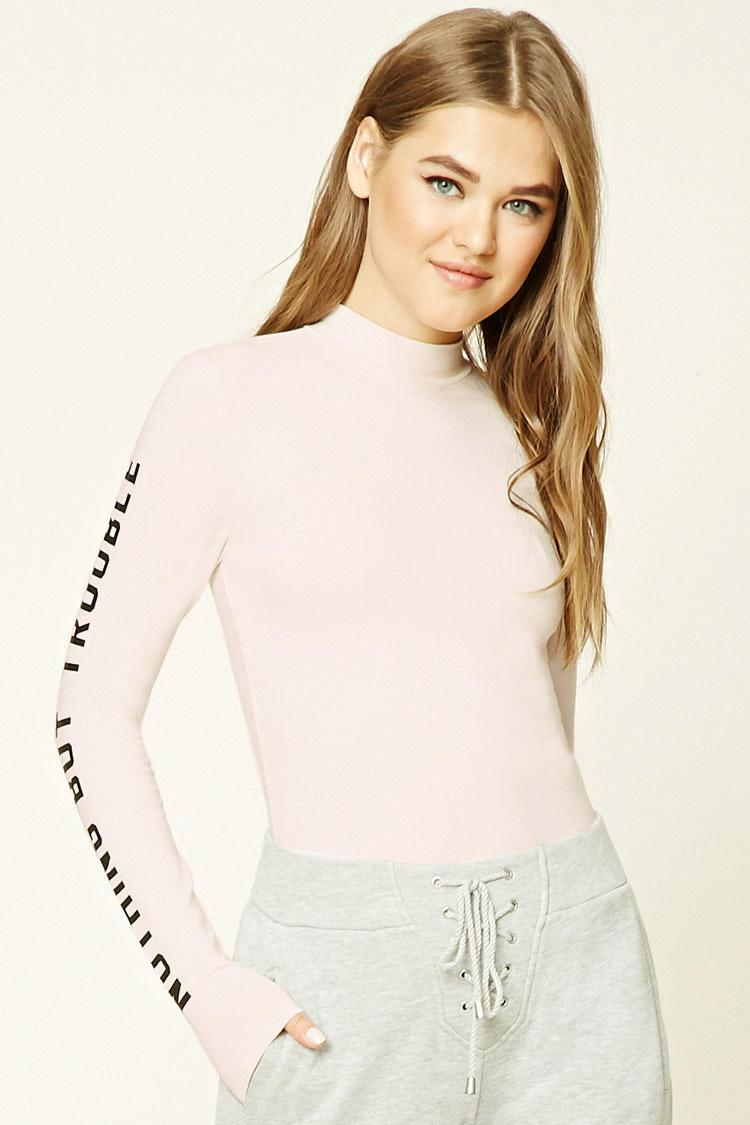 2a3760009b965 Lyst - Forever 21 Nothing But Trouble Graphic Top in Black
