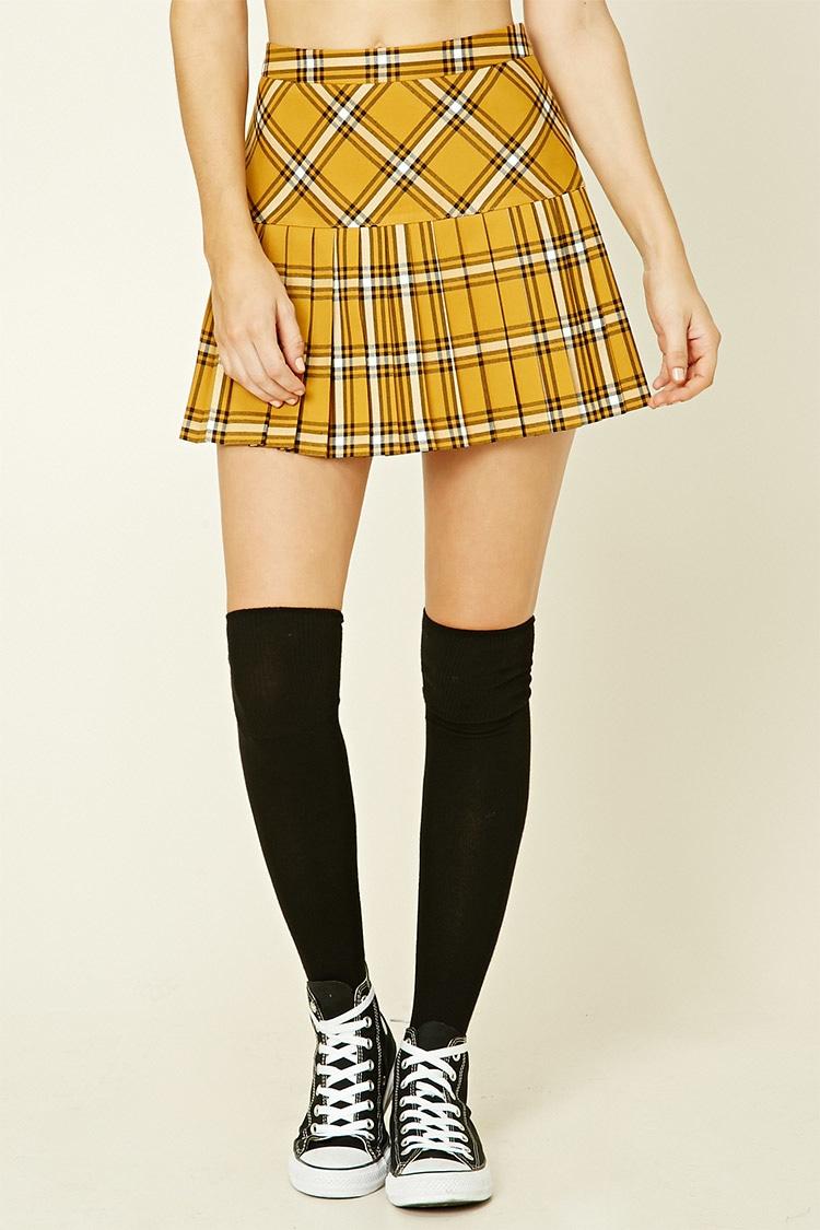2f8fb5fddf Forever 21 Tartan Plaid Pleated Mini Skirt in Yellow - Lyst