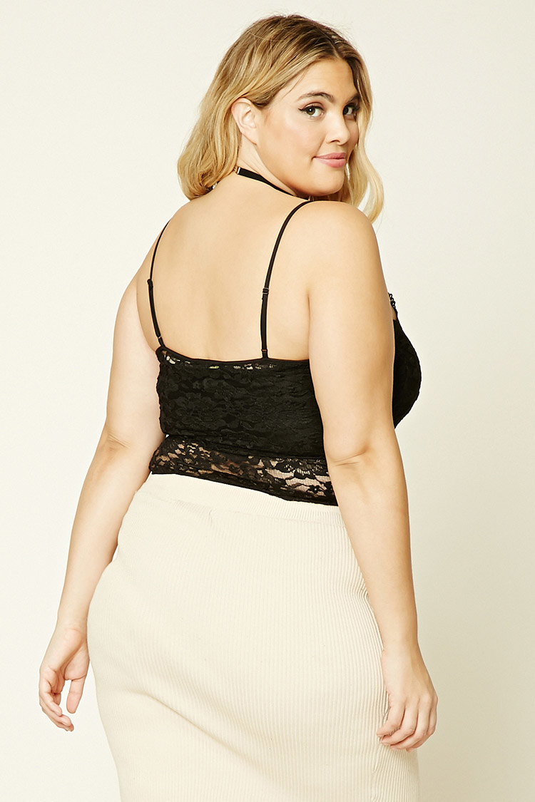 Lyst - Forever 21 Plus Size Sheer Lace Bodysuit in Black