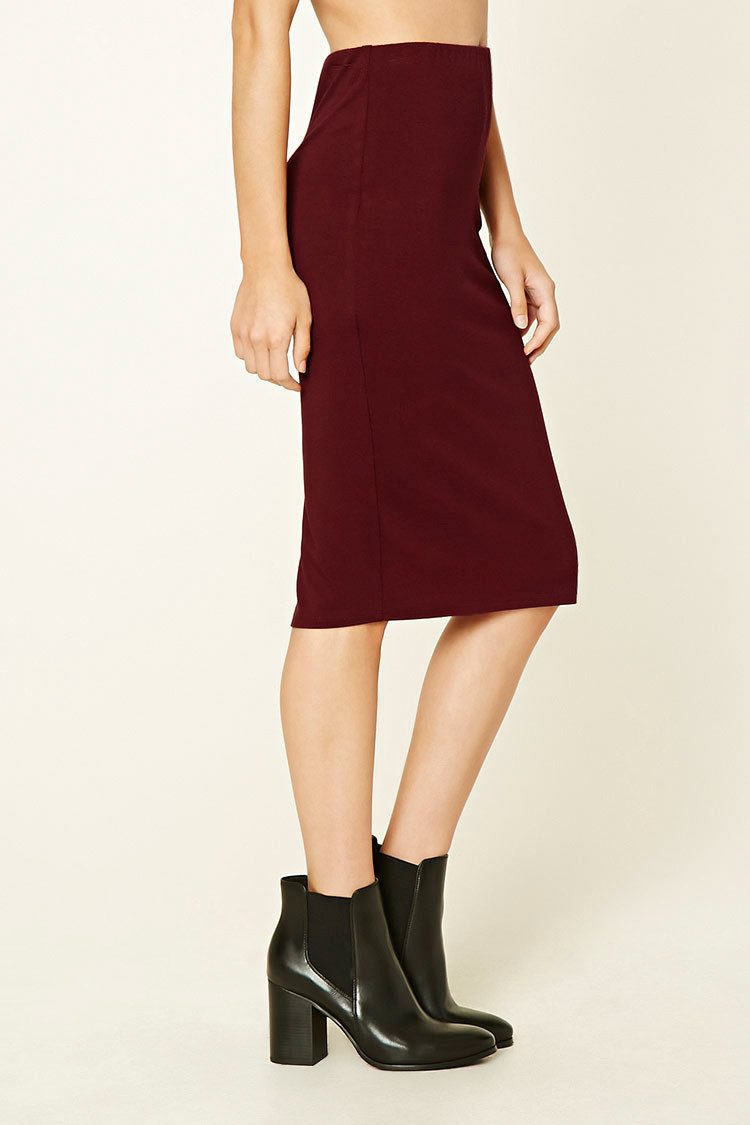 forever 21 stretch knit pencil skirt in lyst