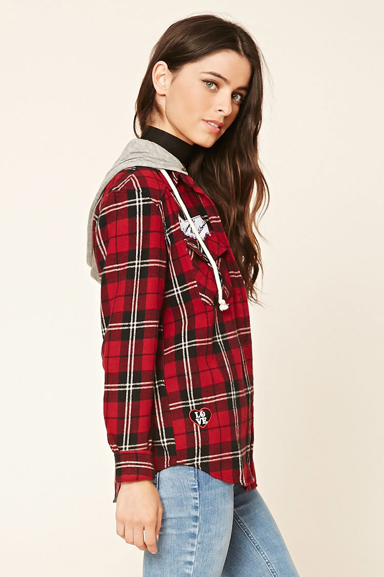 Lyst forever 21 patched hooded flannel shirt in black for Flannel shirts for womens forever 21