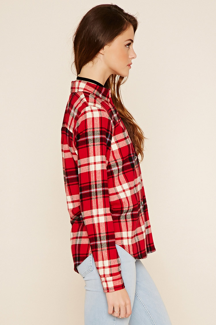 Forever 21 buffalo plaid flannel shirt in black lyst for Flannel shirts for womens forever 21