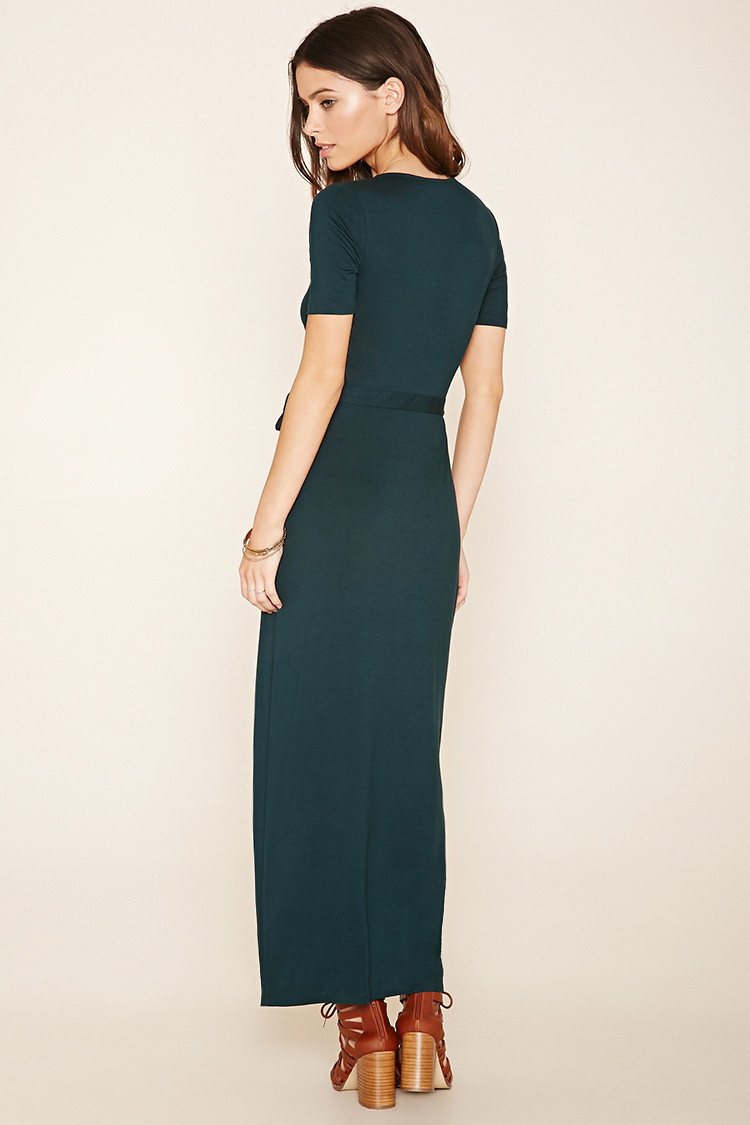Forever 21 Wrap Front Maxi Dress In Green Lyst