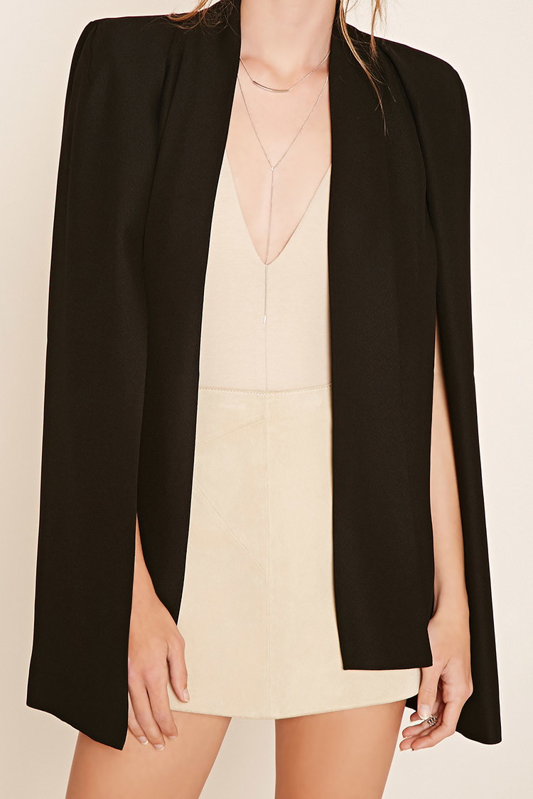 Forever 21 Contemporary Padded Cape Blazer In Black Lyst