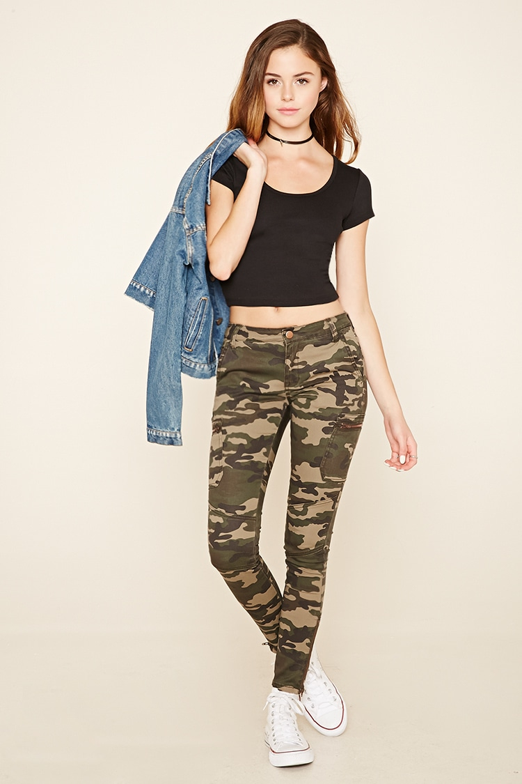 Excellent FOREVER 21 Size Small Cargo Camo Camouflage Pants Flare | EBay
