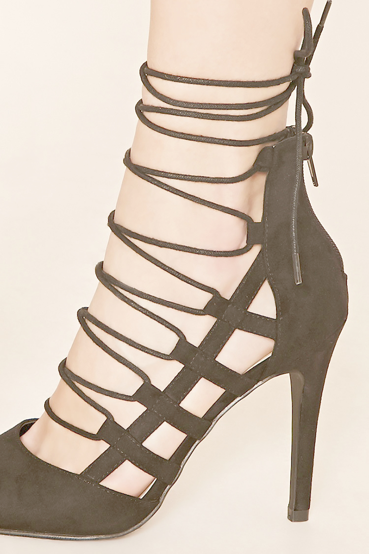 Lyst - Forever 21 Faux Suede Lace-up Heels in Black