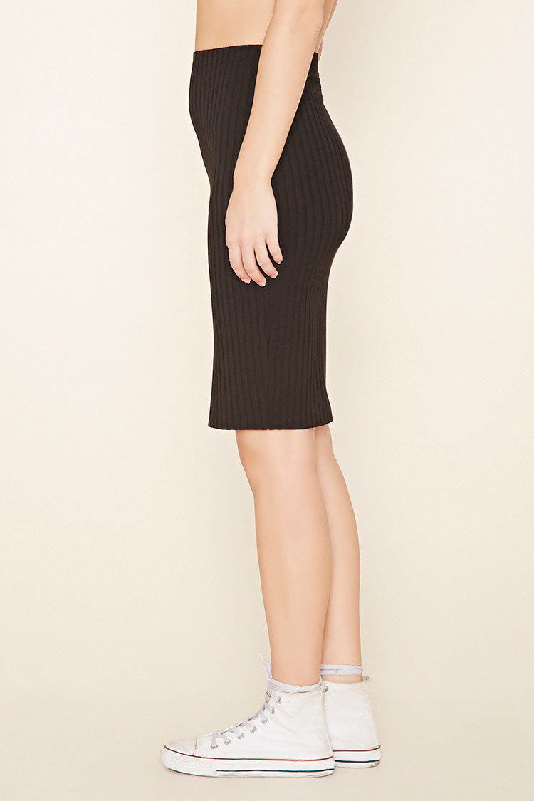 forever 21 ribbed knit pencil skirt in black lyst