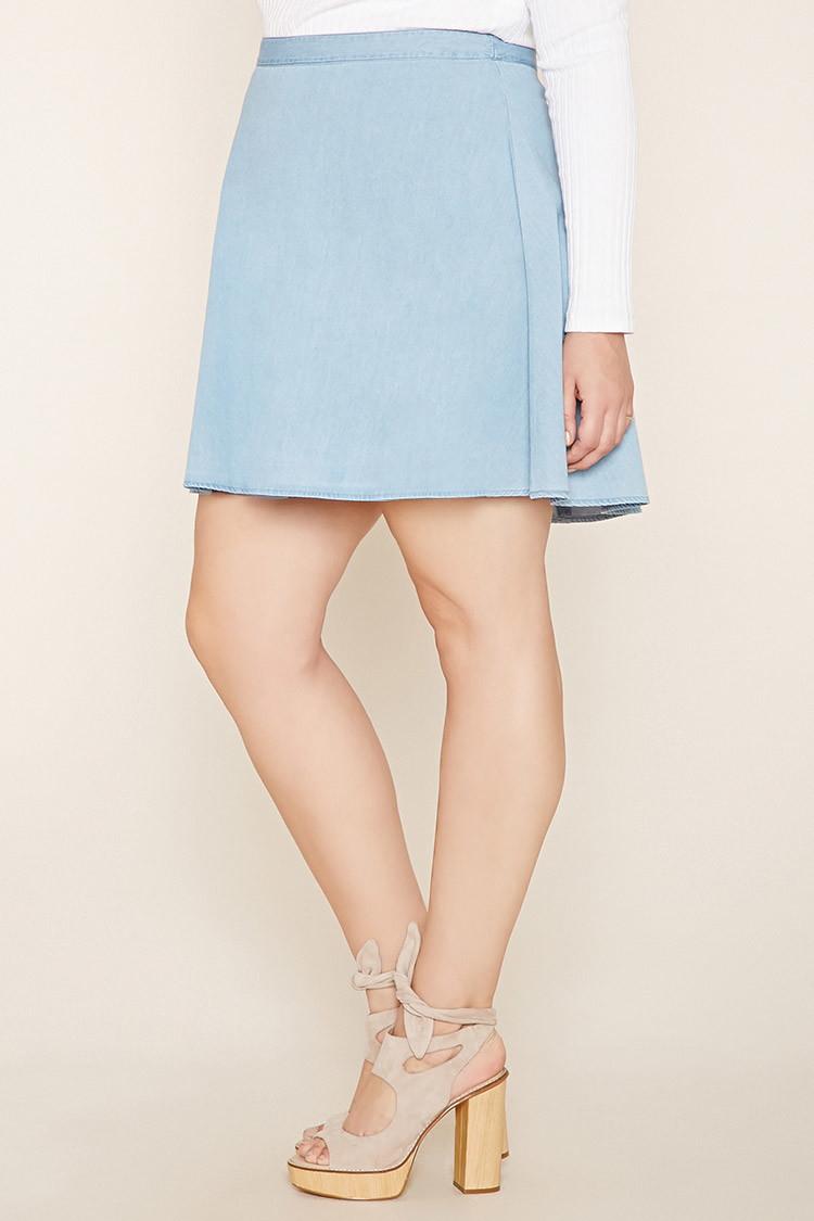forever 21 plus size denim skater skirt in blue lyst